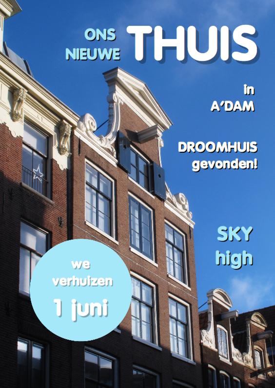 Verhuiskaarten - Verhuisbericht cover blauw - OT