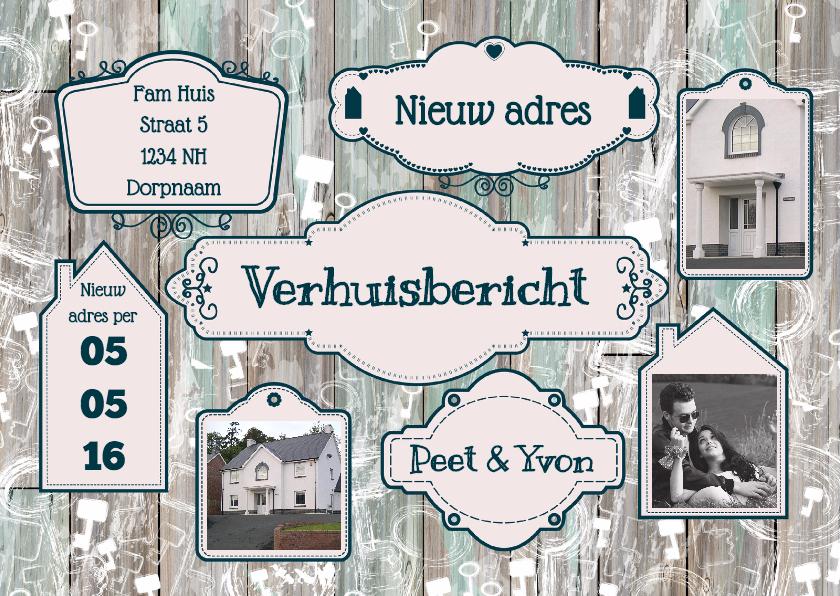 Verhuiskaarten - Verhuisbericht label hout foto