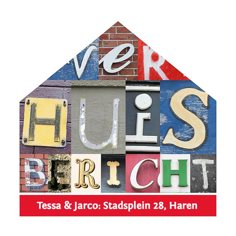 Verhuiskaarten - Verhuisbericht letters in huisje