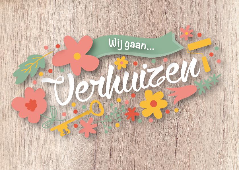 Verhuiskaarten - Verhuisbericht met bloemen