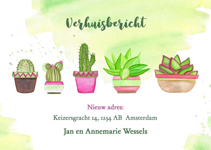 Verhuiskaarten - Verhuisbericht met cactussen