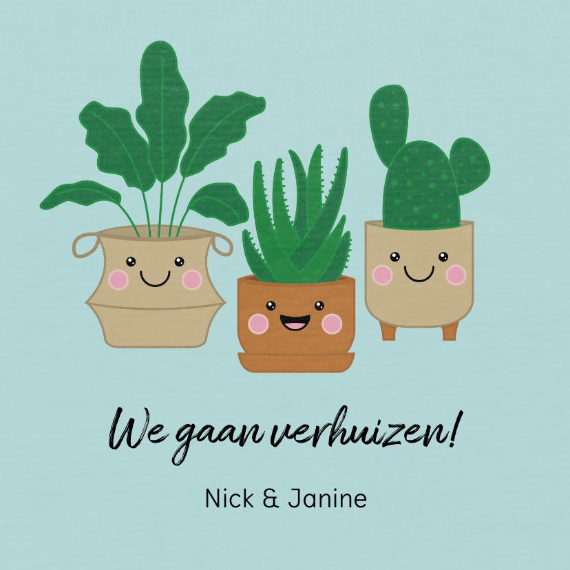 Verhuiskaarten - Verhuisbericht met vrolijke planten