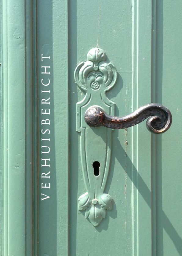 Verhuiskaarten - Verhuisbericht retro voordeur pastelgroen