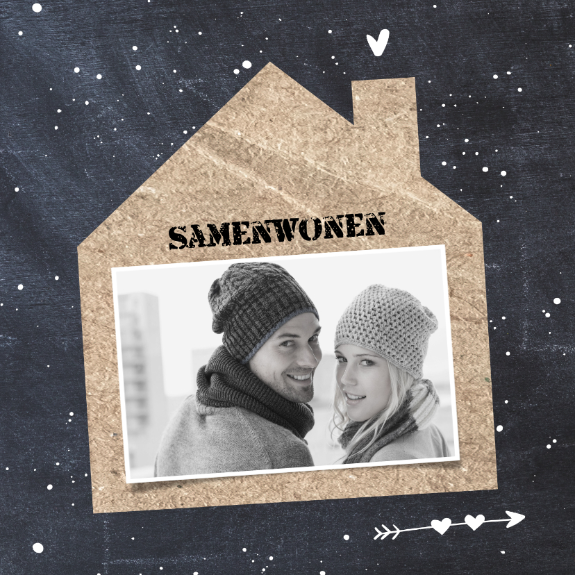 Verhuiskaarten - Verhuisbericht Samenwonen krijtbord foto