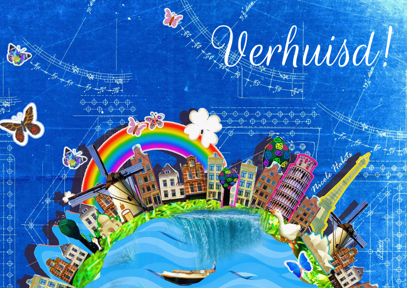 Verhuiskaarten - Verhuisd blauw print  illustratie