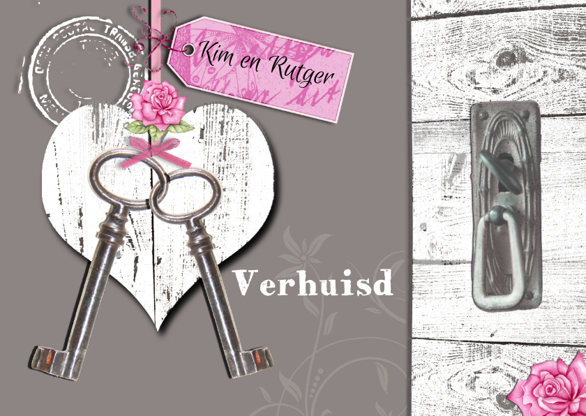 Verhuiskaarten - verhuisd met hart en sleutels