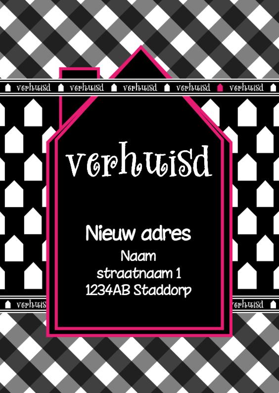 Verhuiskaarten - Verhuisd zwart wit roze