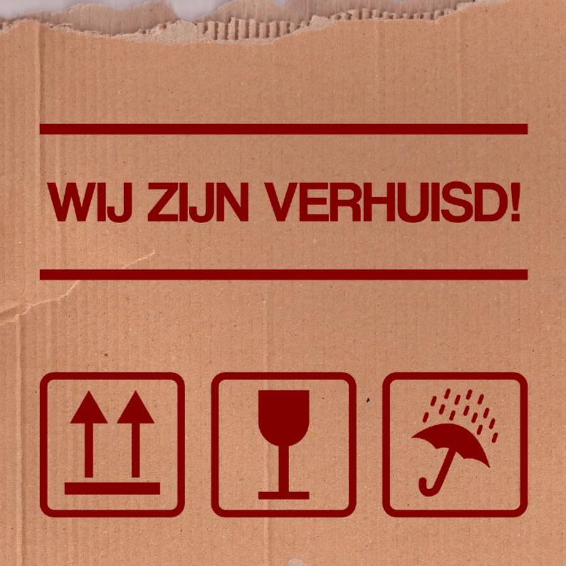 Verhuiskaarten - Verhuisdoos symbolen rood