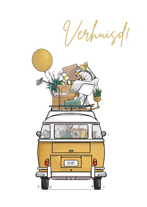Verhuiskaarten - Verhuiskaart achterkant busje geel