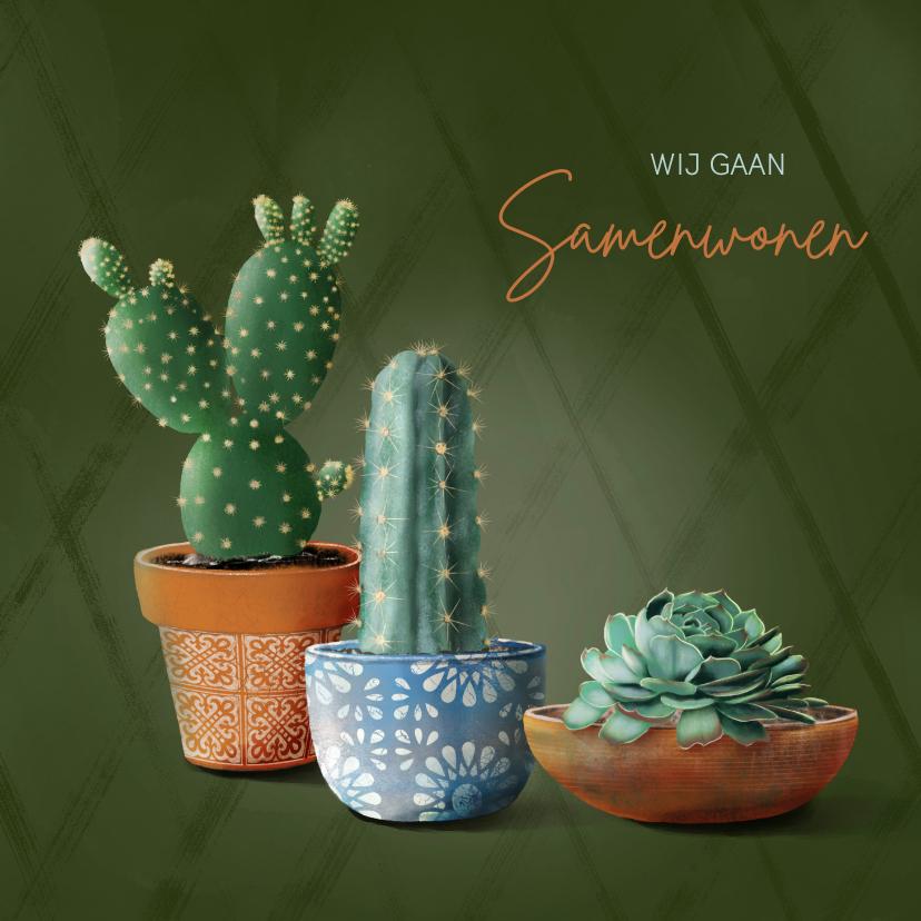 Verhuiskaarten - Verhuiskaart cactussen en succulent samenwonen