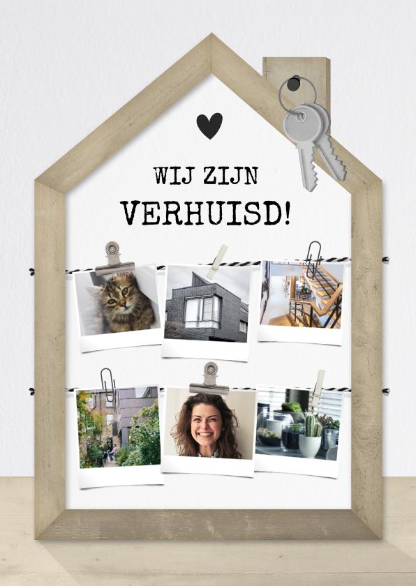 Verhuiskaarten - Verhuiskaart fotolijst houten huisje met fotocollage