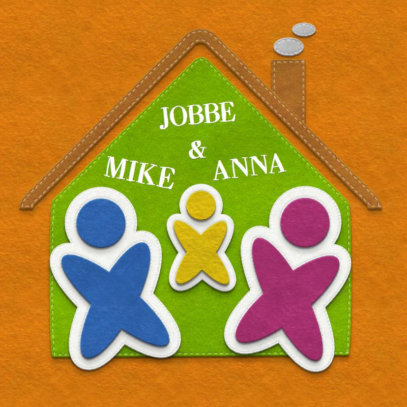 Verhuiskaarten - Verhuiskaart gezin stof