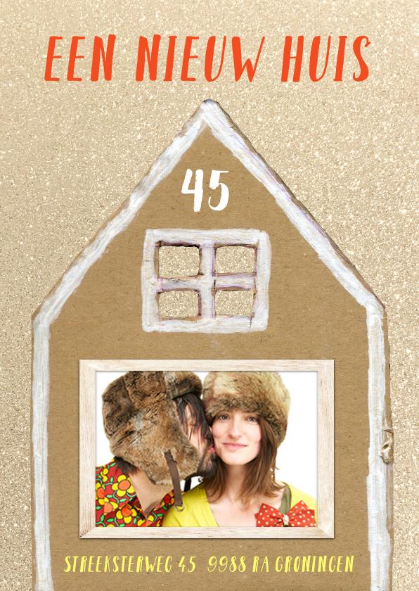 Verhuiskaarten - Verhuiskaart glitter huis met foto in raam