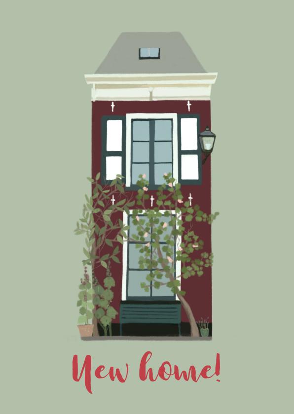 Verhuiskaarten - Verhuiskaart groen huis met luiken