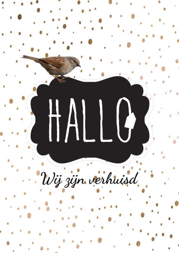 Verhuiskaarten - Verhuiskaart  Hallo  confetti-  LO