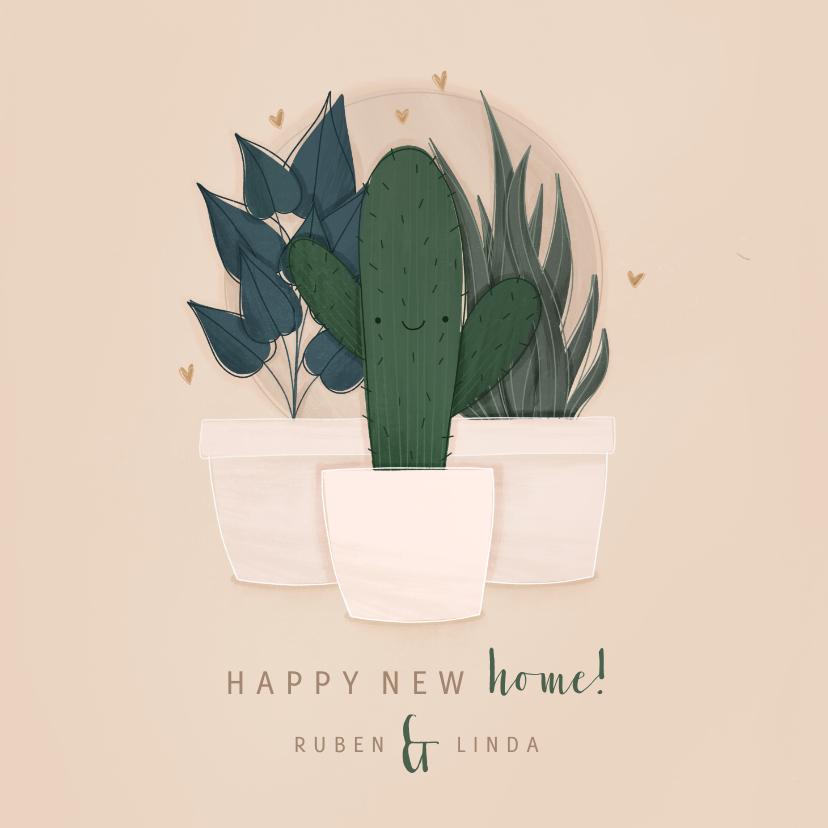 Verhuiskaarten - Verhuiskaart happy new home met plantjes
