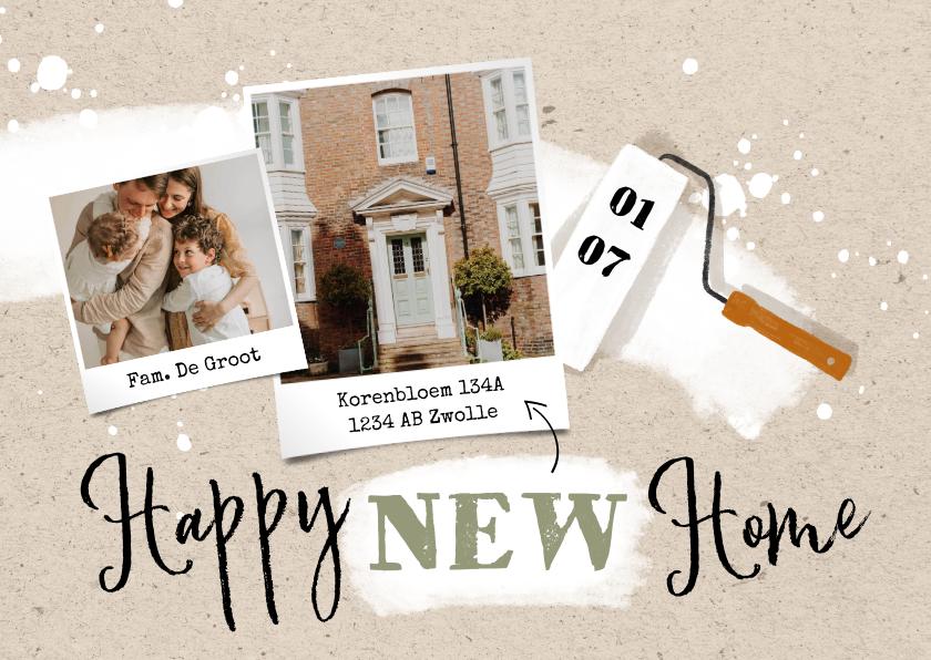 Verhuiskaarten - Verhuiskaart 'Happy new home' met verfroller en spetters