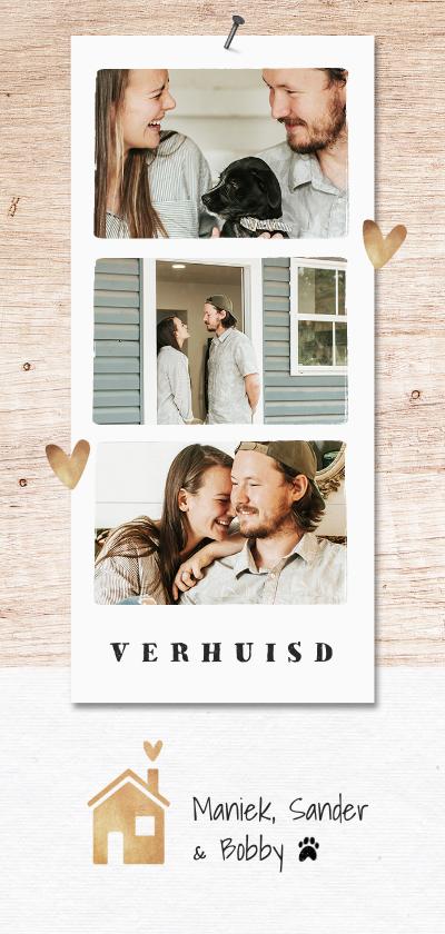 Verhuiskaarten - Verhuiskaart hip fotocollage goudlook hout huisje