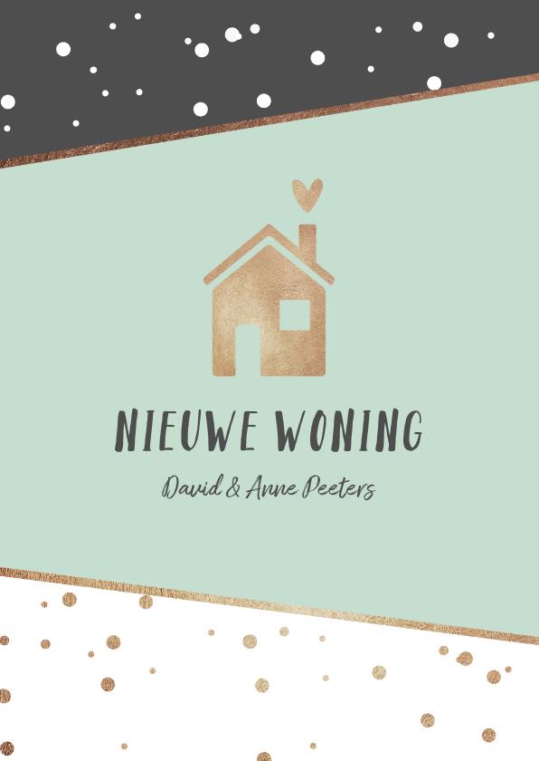 Verhuiskaarten - Verhuiskaart hip stijlvol stipjes goud huisje hartje