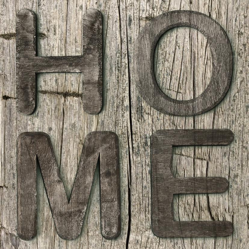 Verhuiskaarten - verhuiskaart Home hout vierkant