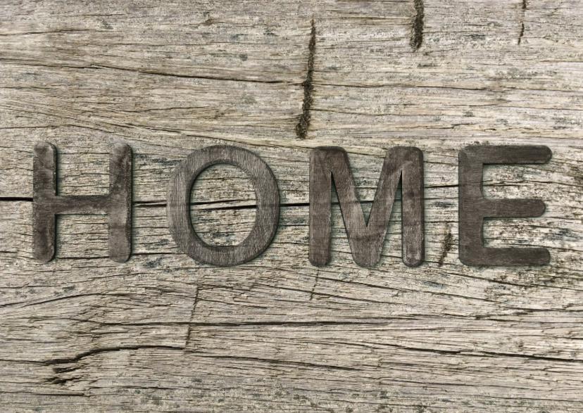Verhuiskaarten - verhuiskaart Home hout