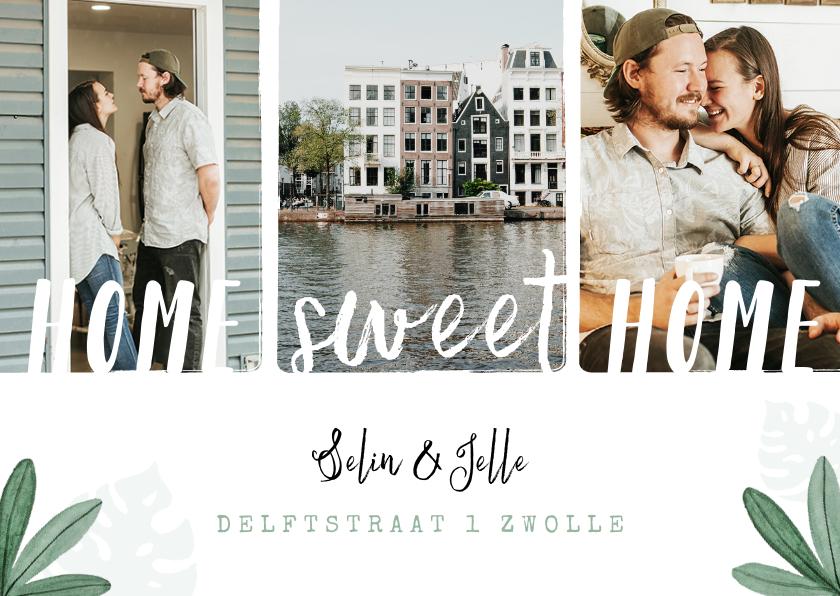 Verhuiskaarten - Verhuiskaart home sweet home fotocollage blaadjes