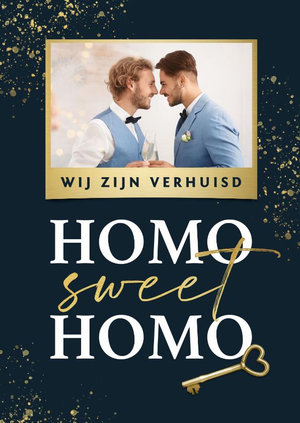 Verhuiskaarten - Verhuiskaart homo sweet homo gay sleutel foto goud