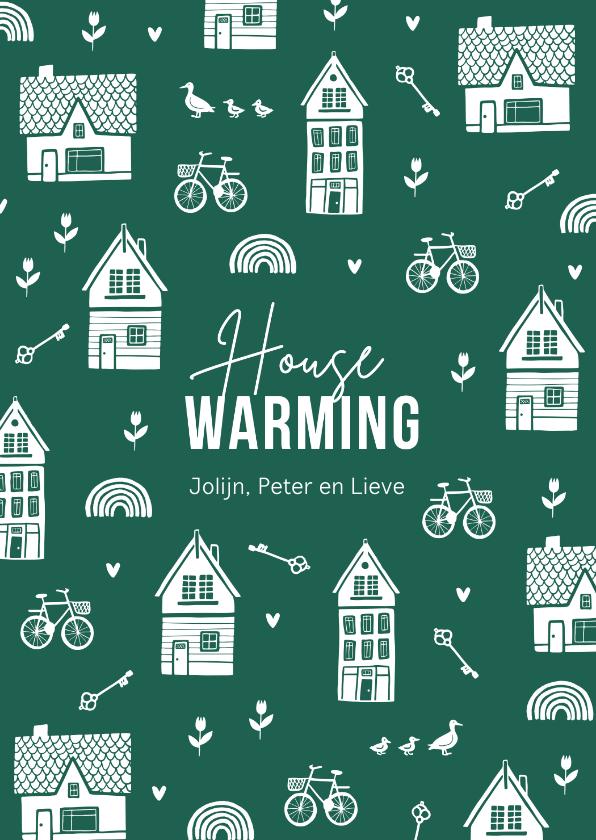 Verhuiskaarten - Verhuiskaart housewarming nieuwe woning huisjes sleutel