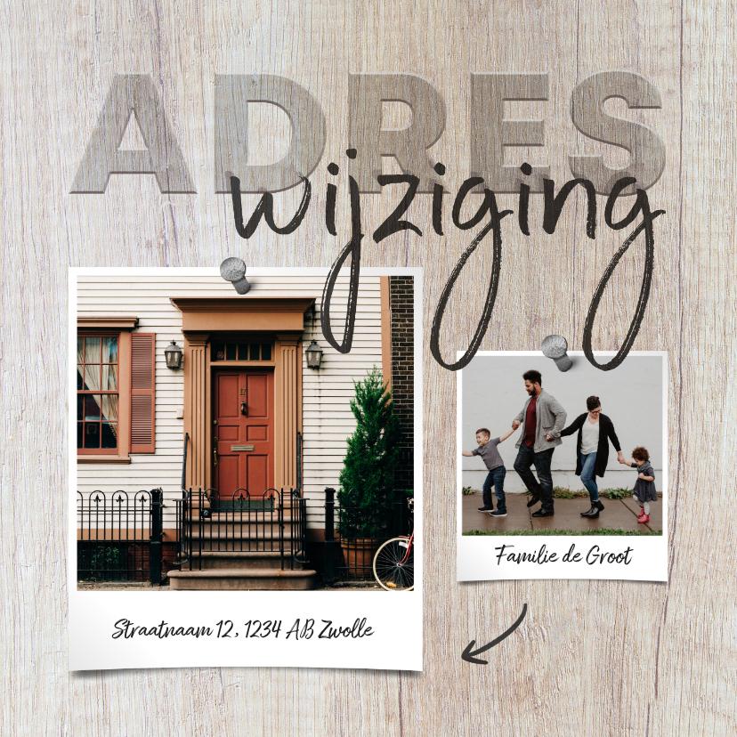 Verhuiskaarten - Verhuiskaart hout adreswijziging met foto's