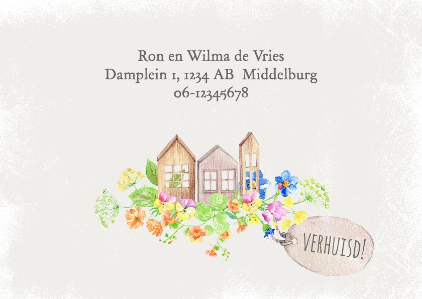Verhuiskaarten - Verhuiskaart houten huisjes en bloemen