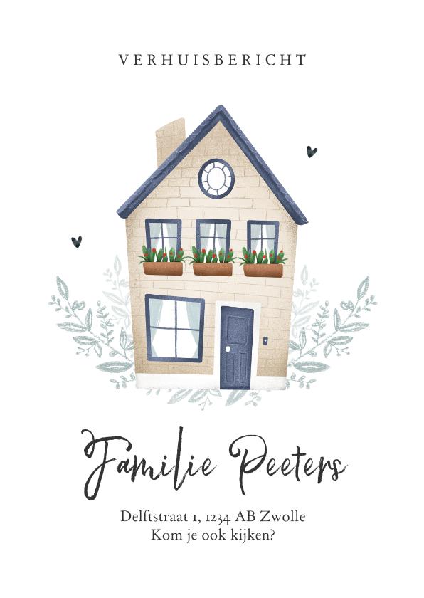 Verhuiskaarten - Verhuiskaart huis illustratie fris stijlvol