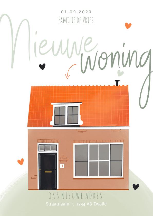 Verhuiskaarten - Verhuiskaart huis illustratie nieuwe woning oranje groen