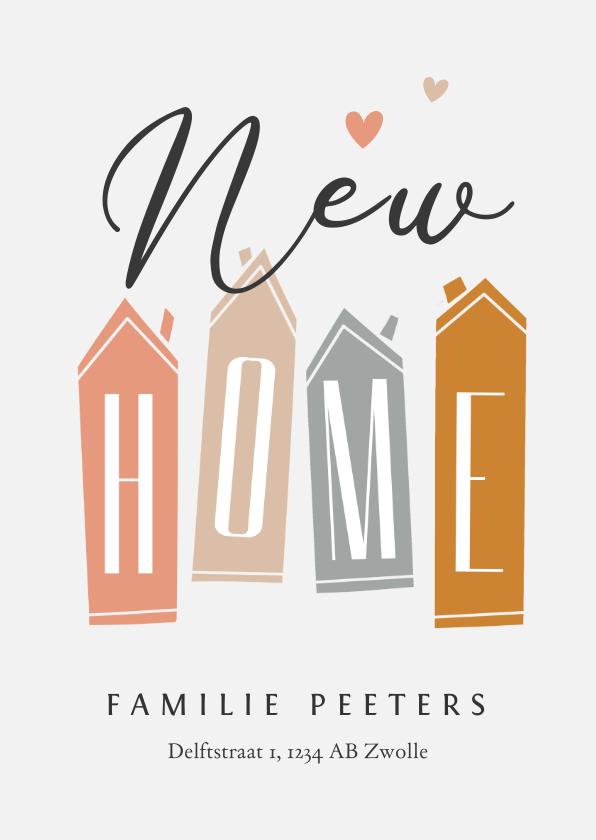 Verhuiskaarten - Verhuiskaart huisjes nieuwe woning new home hartjes