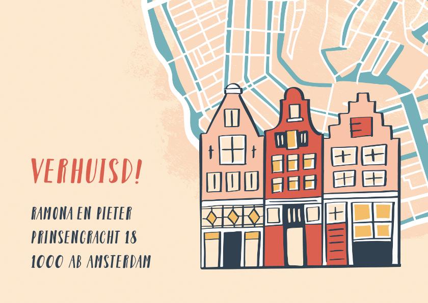 Verhuiskaarten - Verhuiskaart huisjes op plattegrond