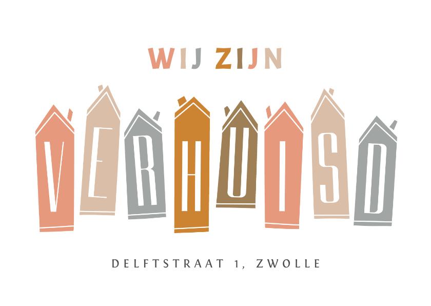 Verhuiskaarten - Verhuiskaart huisjes verhuisd modern typografisch
