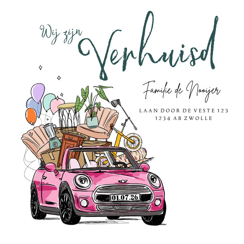Verhuiskaarten - Verhuiskaart illustratie auto inboedel plant fiets ballonnen