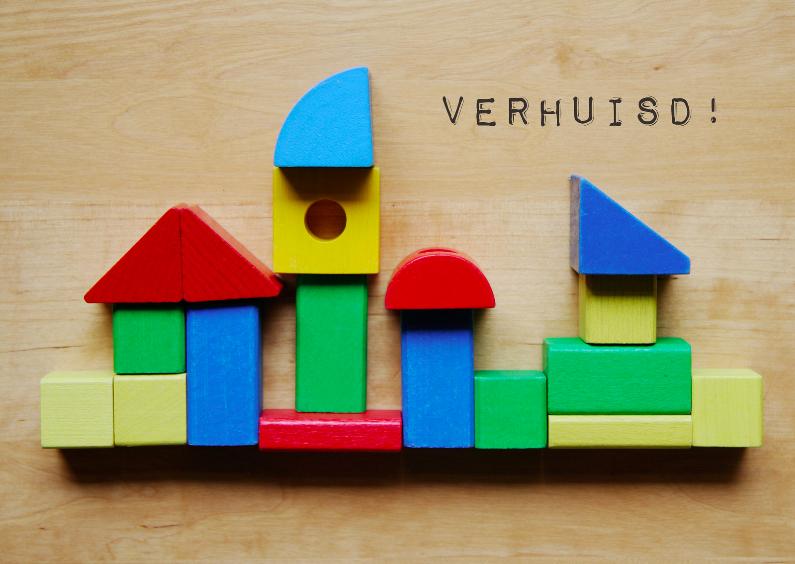 Verhuiskaarten - Verhuiskaart kleurige blokkenhuizen