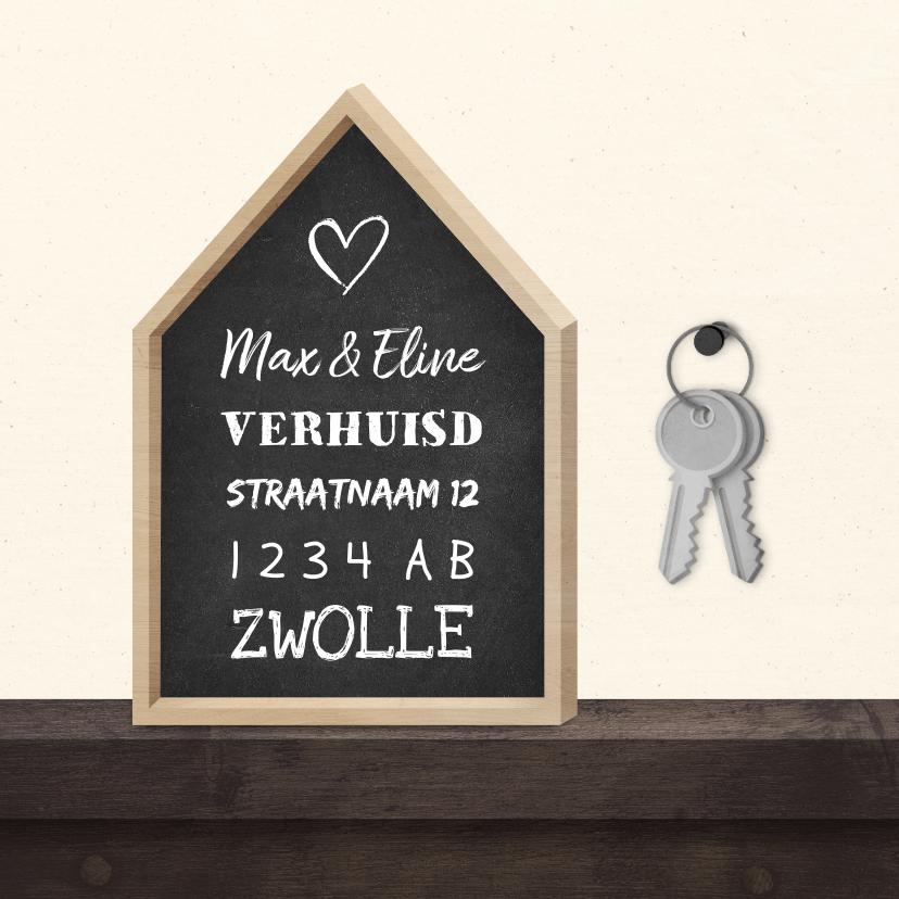 Verhuiskaarten - Verhuiskaart krijtbord huis met sleutelbos