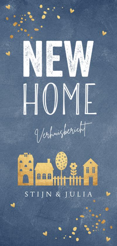 Verhuiskaarten - Verhuiskaart langwerpig blauw goudlook huisjes