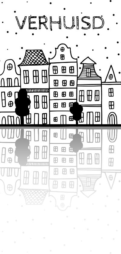 Verhuiskaarten - Verhuiskaart langwerpig met Amsterdamse huisjes en reflectie
