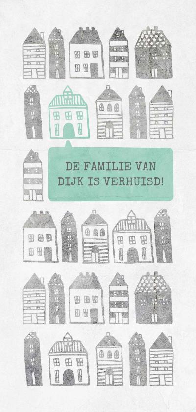Verhuiskaarten - Verhuiskaart langwerpig met geïllustreerde huisjes