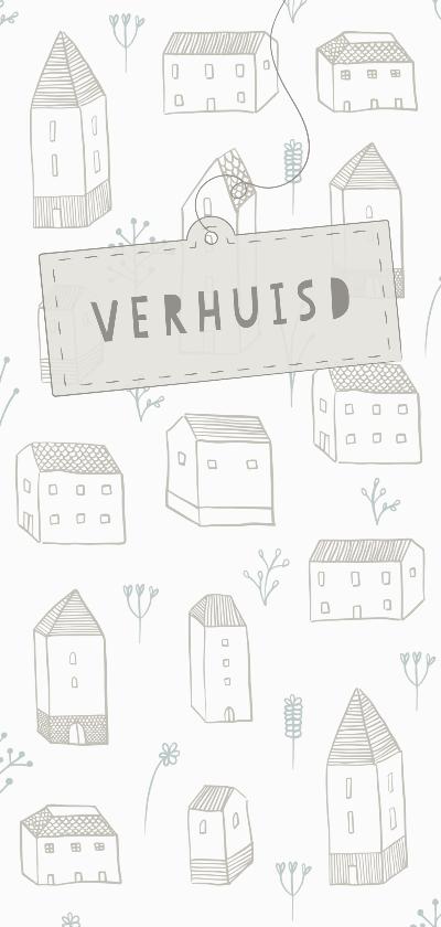 Verhuiskaarten - Verhuiskaart langwerpig met huisjes, bloemetjes en een label