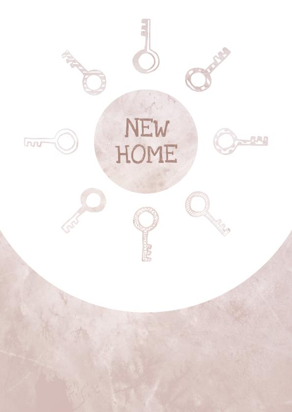 Verhuiskaarten - Verhuiskaart  marble roze met sleutels