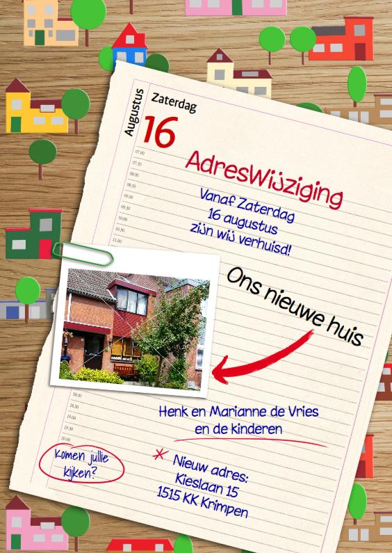 Verhuiskaarten - Verhuiskaart met agenda en foto