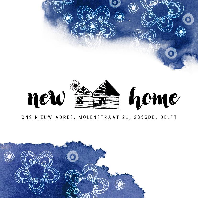 Verhuiskaarten - Verhuiskaart met een huisje en blauwe kleurvlekken