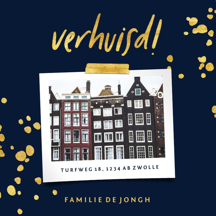 Verhuiskaarten - Verhuiskaart met gouden spetters en foto