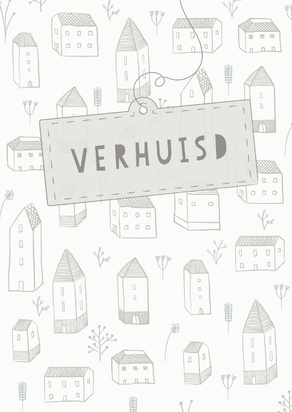 Verhuiskaarten - Verhuiskaart met huisjes, bloemetjes en een label