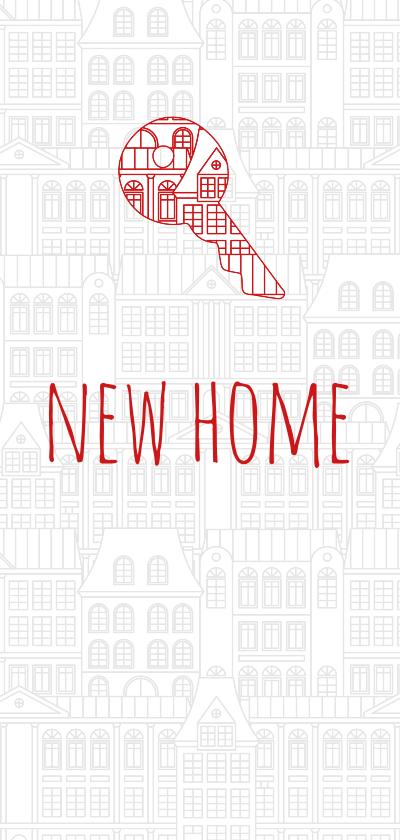 Verhuiskaarten - Verhuiskaart met huisjes patroon en sleutel