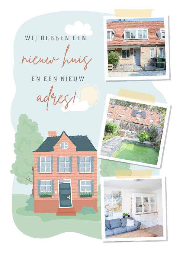 Verhuiskaarten - Verhuiskaart met illustratie van een huis en fotocollage