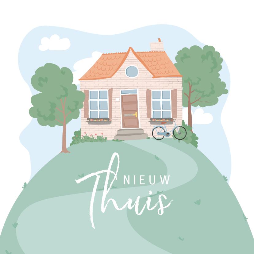 Verhuiskaarten - Verhuiskaart met illustratie van een huis op een berg.
